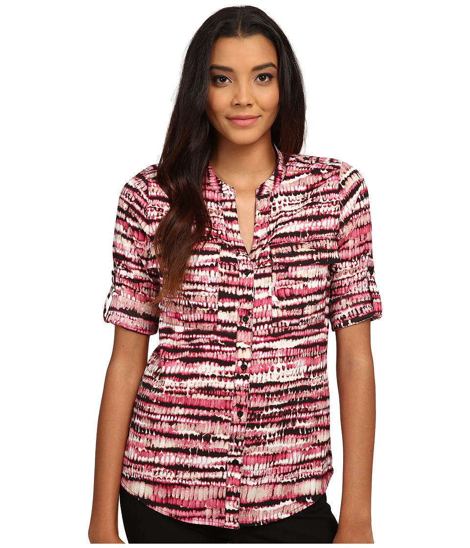 Calvin Klein - Print Crew Neck Roll Sleeve (Winter Rose Multi) Women's Blouse
