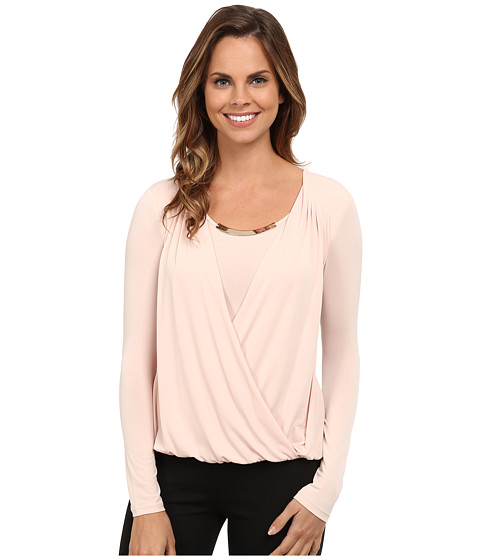 Calvin Klein - Wrap Top w/ Gold Bar Hardware (Blush) Women's Long Sleeve Pullover
