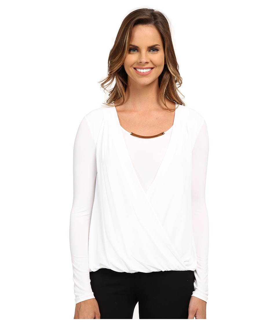 Calvin Klein - Wrap Top w/ Gold Bar Hardware (Soft White) Women