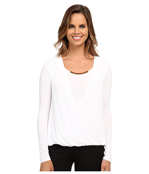 Calvin Klein - Wrap Top w/ Gold Bar Hardware (Soft White) Women