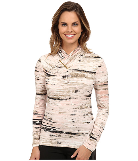 Calvin Klein - High Neck Top Hardware (Latte/Petal Multi) Women's Long Sleeve Pullover