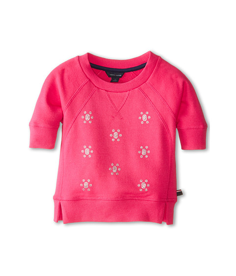 Tommy Hilfiger Kids - All Over Jewel Crew Neck (Little Kids) (Lollipop) Girl's Sweatshirt