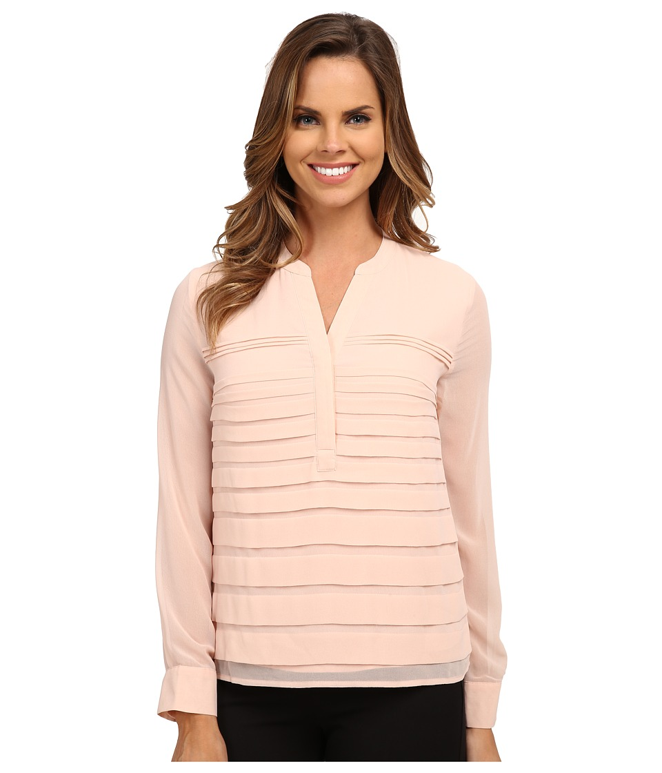 Calvin Klein - Chiffon Top w/ Pleats (Blush) Women's Blouse
