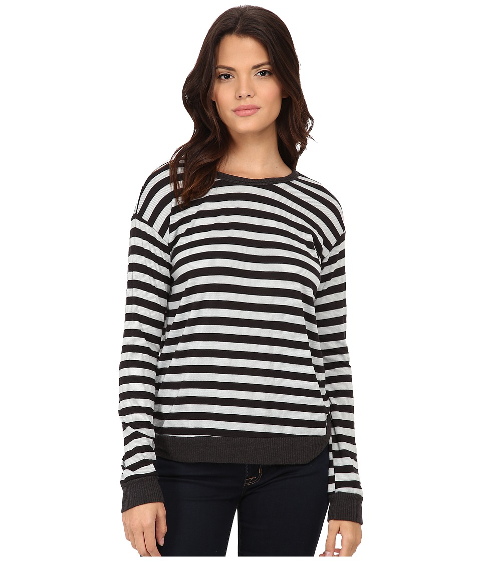 LNA - Addison Thermal Long Sleeve (Charcoal/Ice Stripe) Women's Long Sleeve Pullover