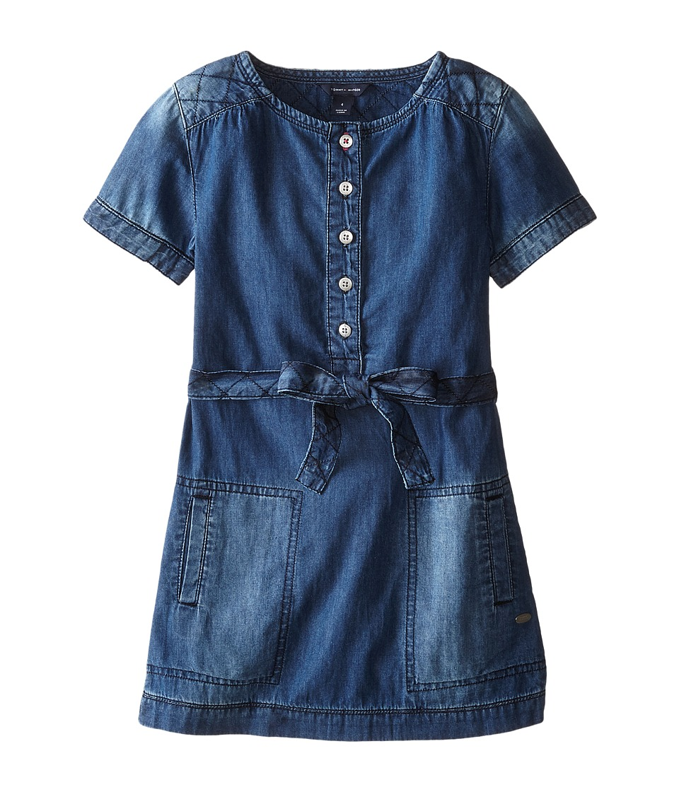 Tommy Hilfiger Kids - Quilted Denim Dress (Little Kids) (Light Indigo Wash) Girl