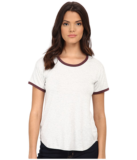 LNA - Short Sleeve Ringer Tee (Ash/Ox Blood) Women