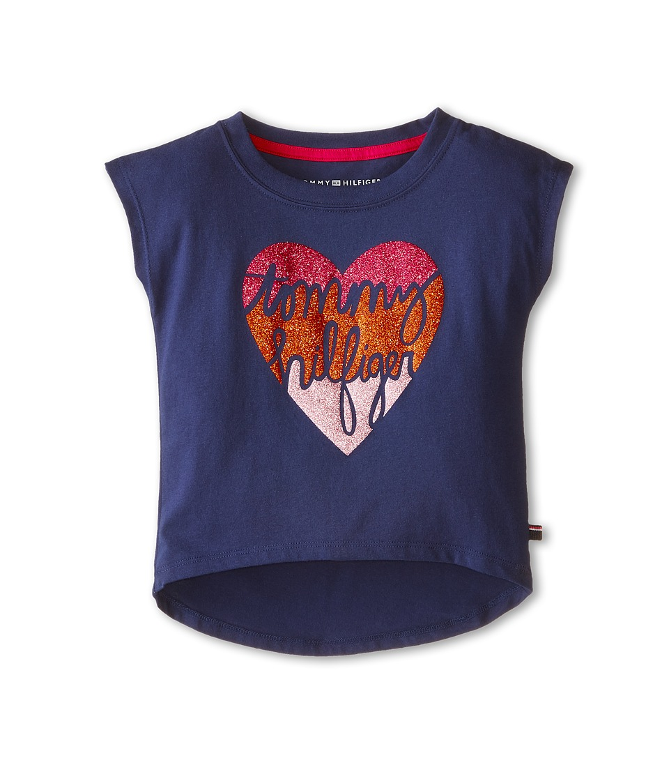 Tommy Hilfiger Kids - Tommy Heart Graphic Tee (Little Kids) (Flag Blue) Girl's T Shirt