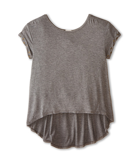 Ella Moss Girl - Aria Short Sleeve Knit Top (Big Kids) (Grey) Girl's Short Sleeve Knit