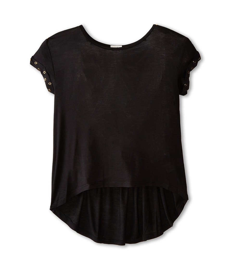Ella Moss Girl - Aria Short Sleeve Knit Top (Big Kids) (Black) Girl's Short Sleeve Knit