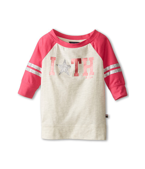 Tommy Hilfiger Kids - 3/4 Sleeve Embellished Active Top (Little Kids) (Oatmeal Heather) Girl's Long Sleeve Pullover