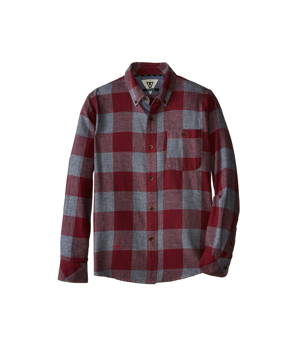 VISSLA Kids - Alpha Check Flannel Short Sleeve (Big Kids) (Red) Boy