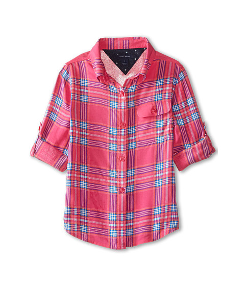 Tommy Hilfiger Kids - Printed Plaid Top (Little Kids) (Lollipop) Girl's Long Sleeve Pullover