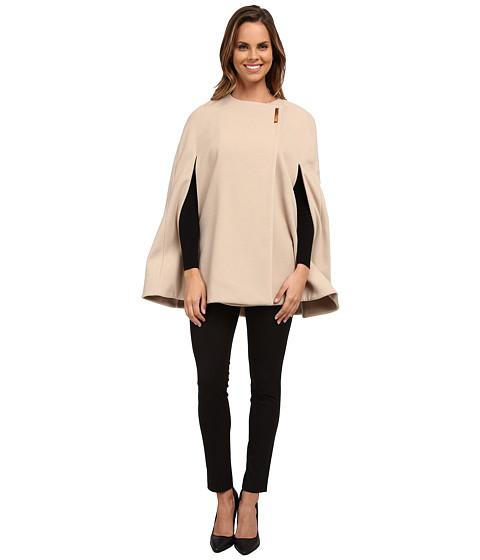 Calvin Klein - Cape with Large Gold Snap (Latte) Women's Coat