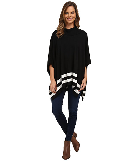 Calvin Klein - Cowl Cape w/ Stripes (Black) Women