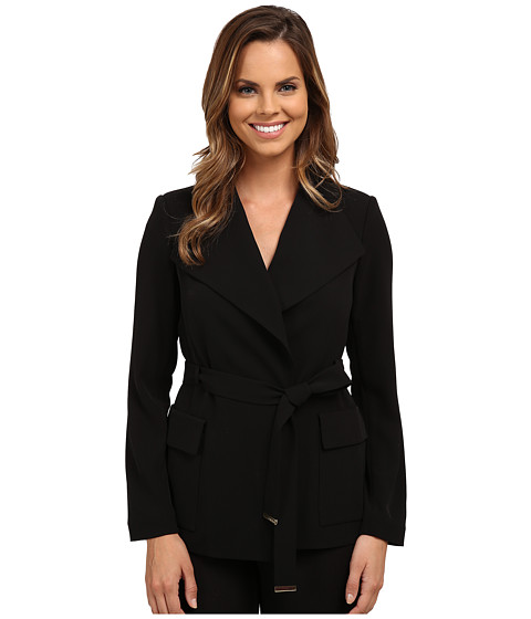 Calvin Klein - Wrap Jacket w/ Belt (Black) Women's Coat