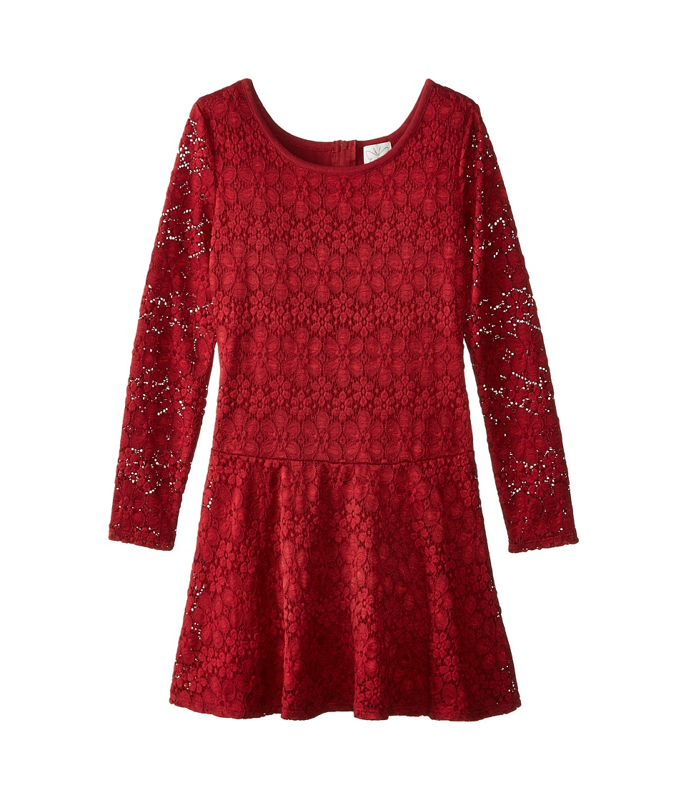 Ella Moss Girl - Madelyn Dress (Big Kids) (Burgundy) Girl's Dress