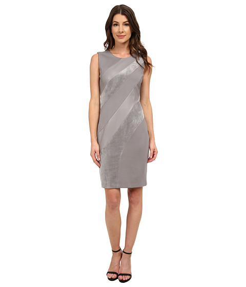 Calvin Klein - Sheath w/ Faux Suede and Pleather Mix (Tin) Women's Dress