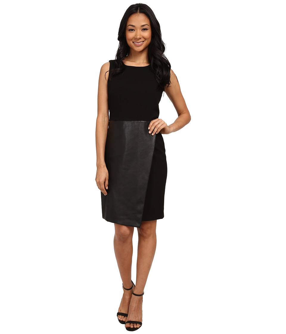 Calvin Klein - Sleeveless Dress w/ Faux Leather Flap (Black) Women's Dress