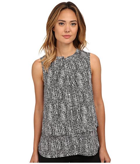 Calvin Klein - Printed Double Layer Button Front (Black/White) Women's Sleeveless