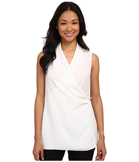Calvin Klein - Sleeveless Tunic w/ Toggle (Soft White) Women's Sleeveless
