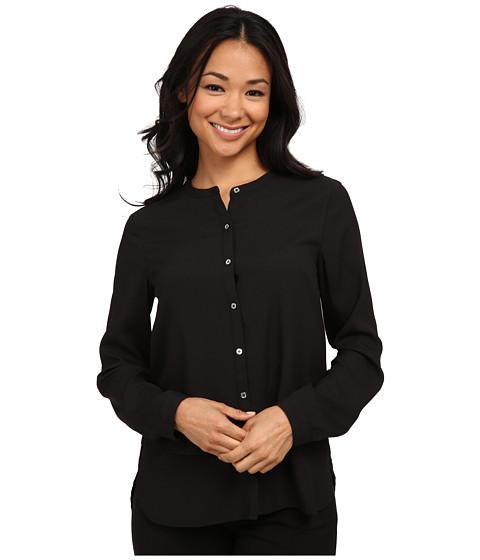 Calvin Klein - Long Sleeve Button Front Double Layer Top (Black) Women