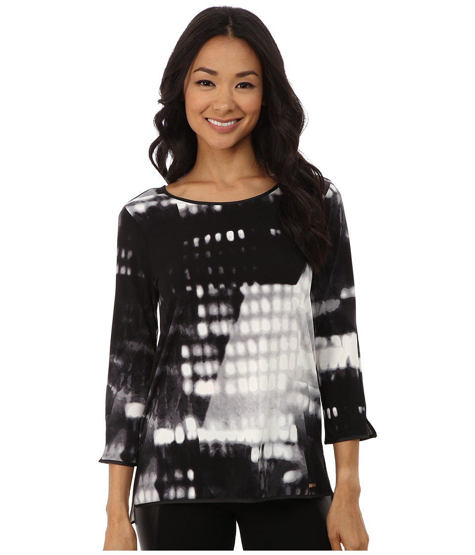 Calvin Klein - 3Q Sleeve Top w/ Faux Leather Tipping (Black Multi) Women's Clothing
