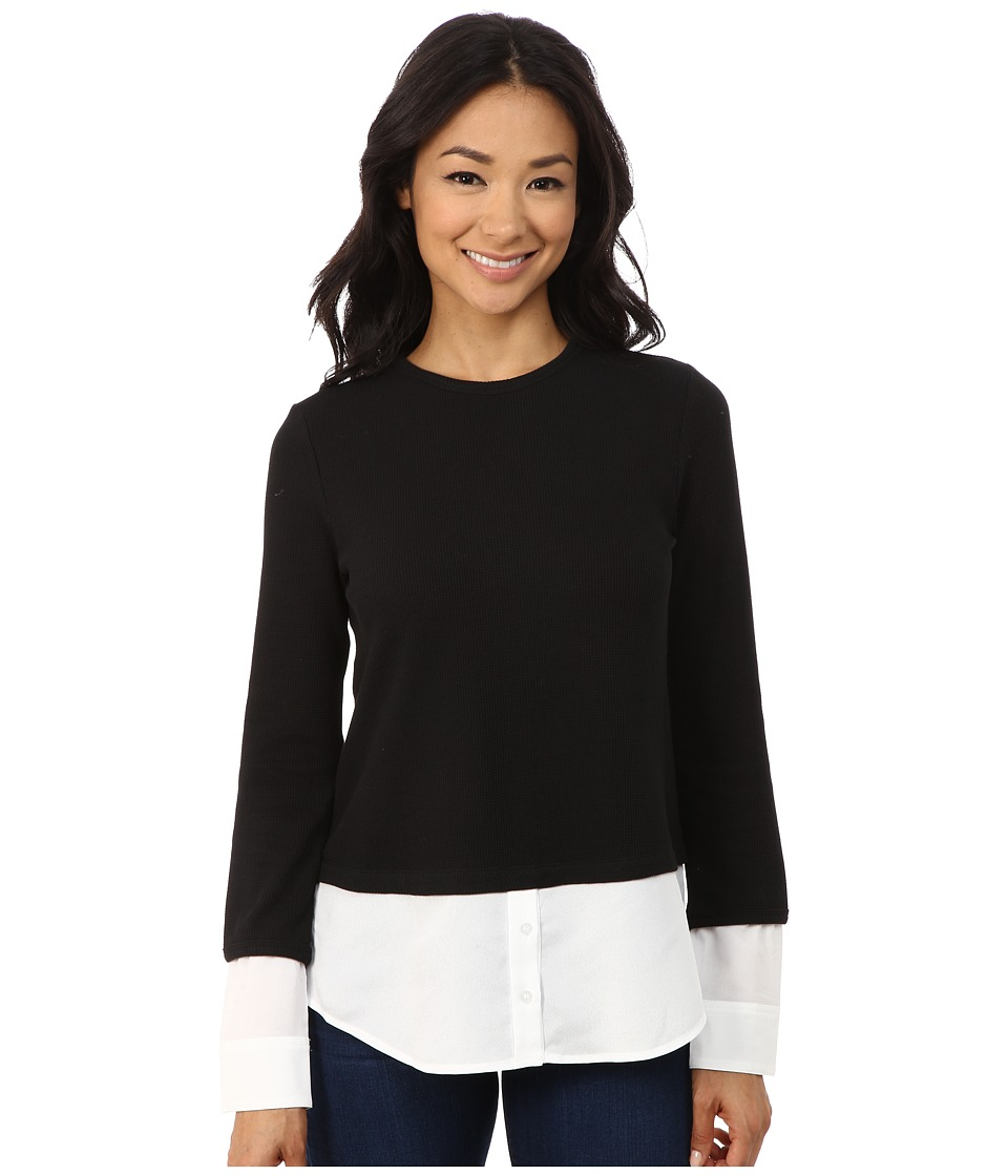 Calvin Klein - Thermal Top w/ Shirting (Black) Women's Clothing