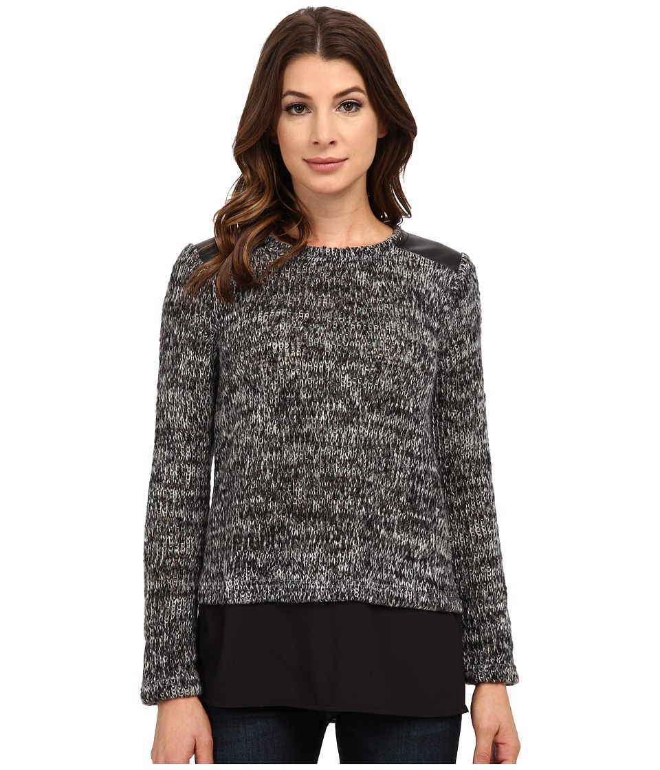Calvin Klein - Marled Sweater Knit w/ Shirting (Charcoal) Women's Sweater