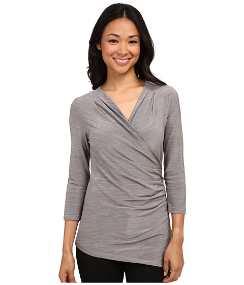 Calvin Klein - Long Sleeve Side Ruched Top (Tin) Women's Blouse