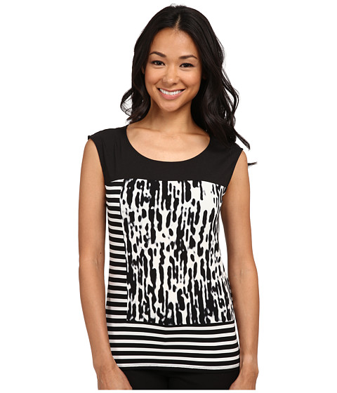 Calvin Klein - Mixed Print Cap Sleeve Top (Black/Soft White Combo) Women