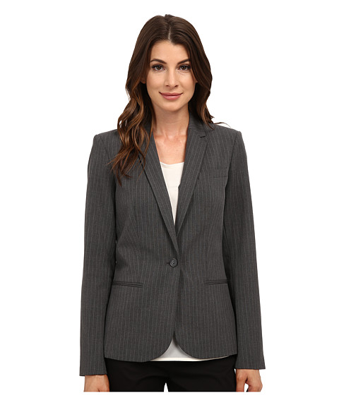 Calvin Klein - One-Button Pinstripe Jacket (Tin) Women's Coat