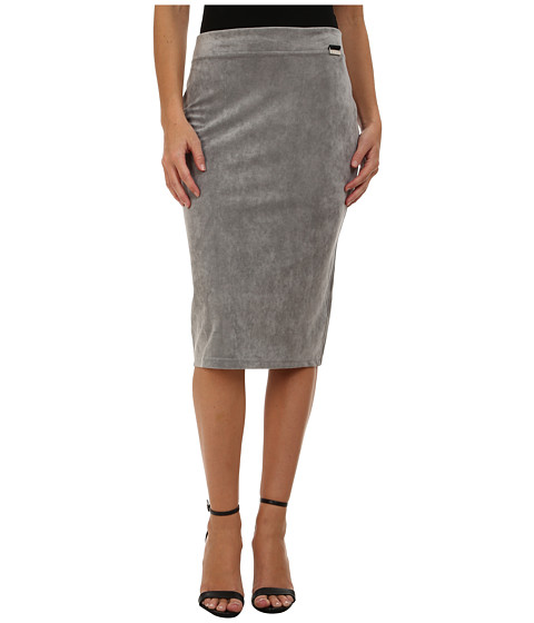 Calvin Klein - Faux Suede Pencil Skirt (Tin) Women