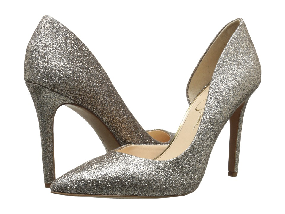 Jessica Simpson Claudette (Gold Dusty Glitter Fabric) High Heels