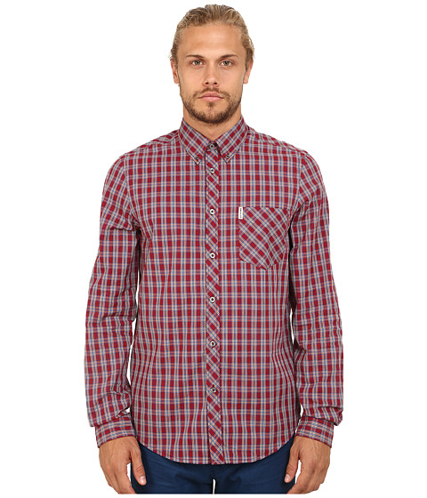 Ben Sherman - Long Sleeve Tartan Check Woven MA11355A (Dawn Red) Men