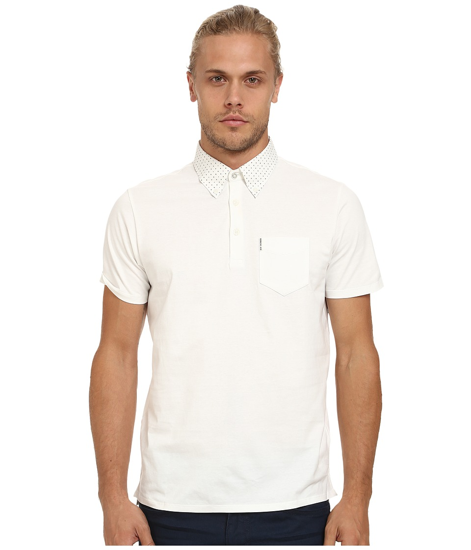 Ben Sherman - Short Sleeve Easy Spot Woven Collar Polo MC11802A (Off White) Men's Short Sleeve Pullover