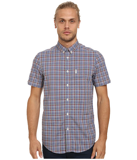 Ben Sherman - Short Sleeve Multi Gingham Check Woven Shirt MA11898A (Union Blue) Men's Short Sleeve Button Up