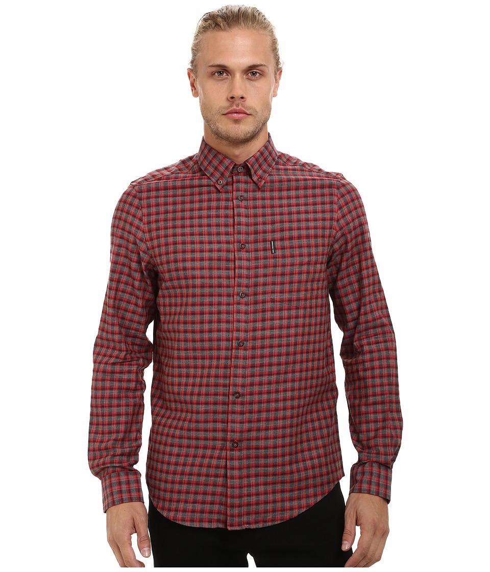 Ben Sherman - Long Sleeve Marl Tartan Woven Shirt MA11924A (Orange Flame) Men