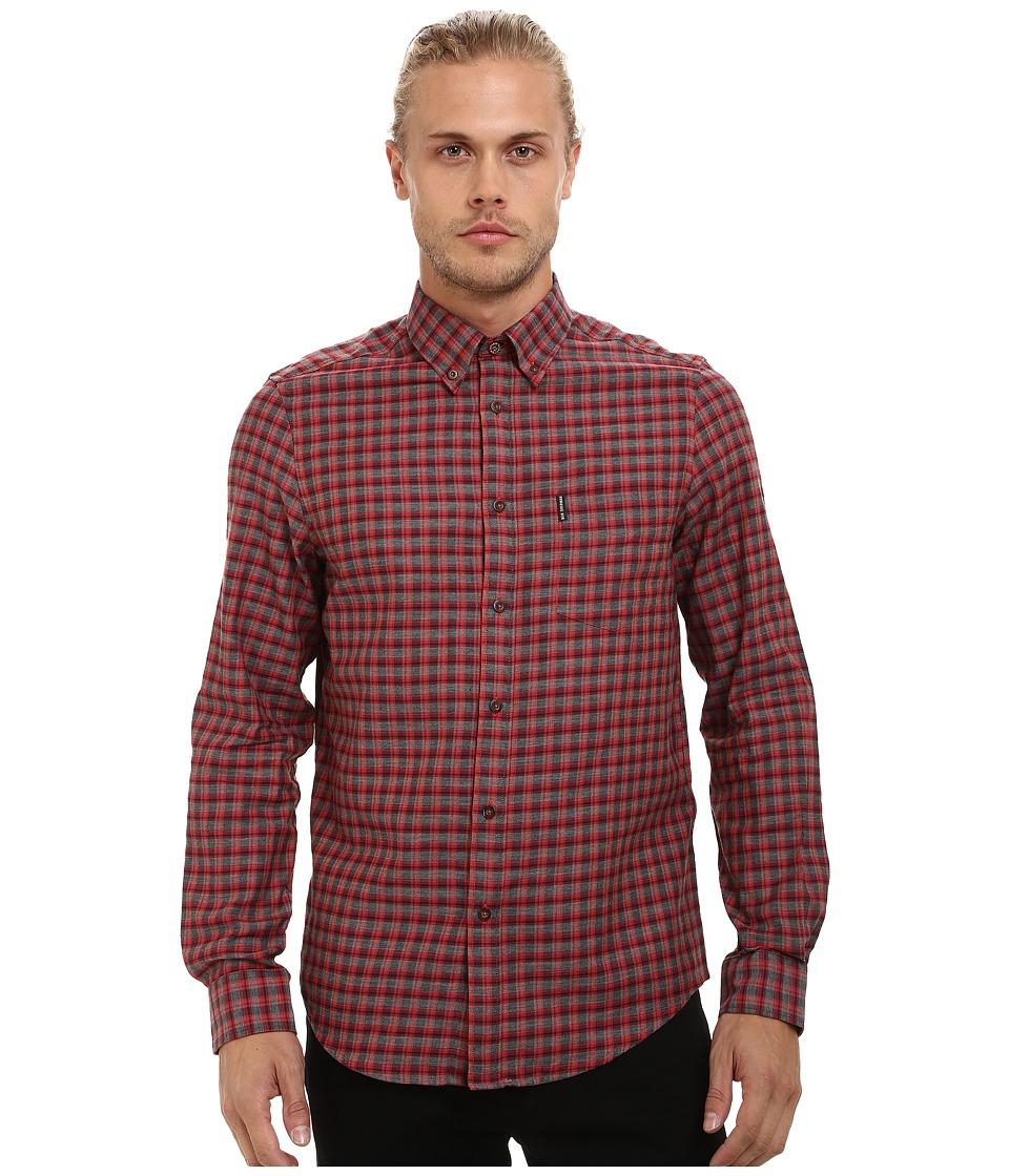 Ben Sherman - Long Sleeve Marl Tartan Woven Shirt MA11924A (Orange Flame) Men's Clothing
