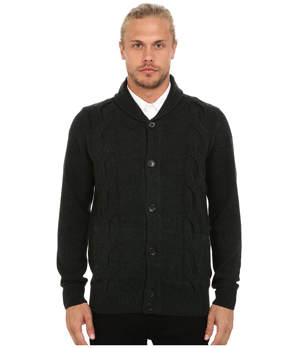 Ben Sherman - Long Sleeve Cable Cardigan ME11763 (Black Pine Marl) Men's Sweater