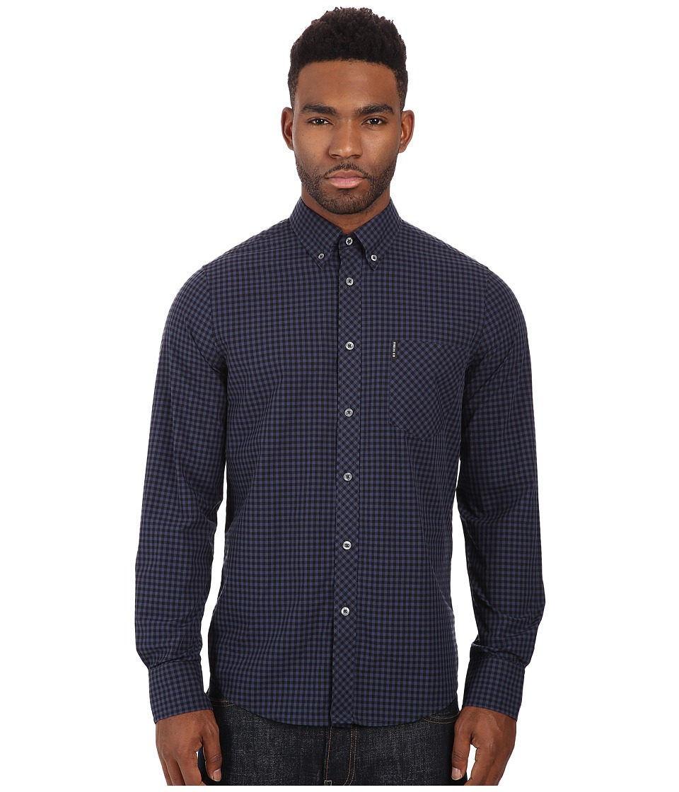 Ben Sherman - Long Sleeve Gingham Mod Shirt MA10113A (Phantom) Men's Long Sleeve Button Up
