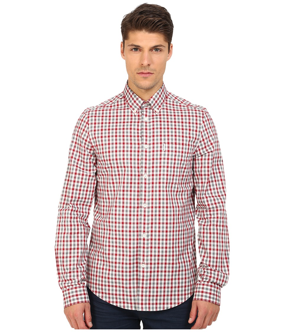 Ben Sherman - Long Sleeve Gingham Woven Shirt MA11362A (Off White) Men's Long Sleeve Button Up