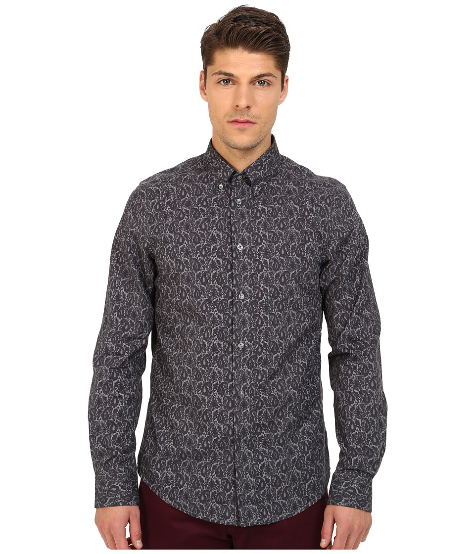 Ben Sherman - Long Sleeve Multi Colour Paisley Woven Shirt MA11923 (Anthracite) Men's Long Sleeve Button Up
