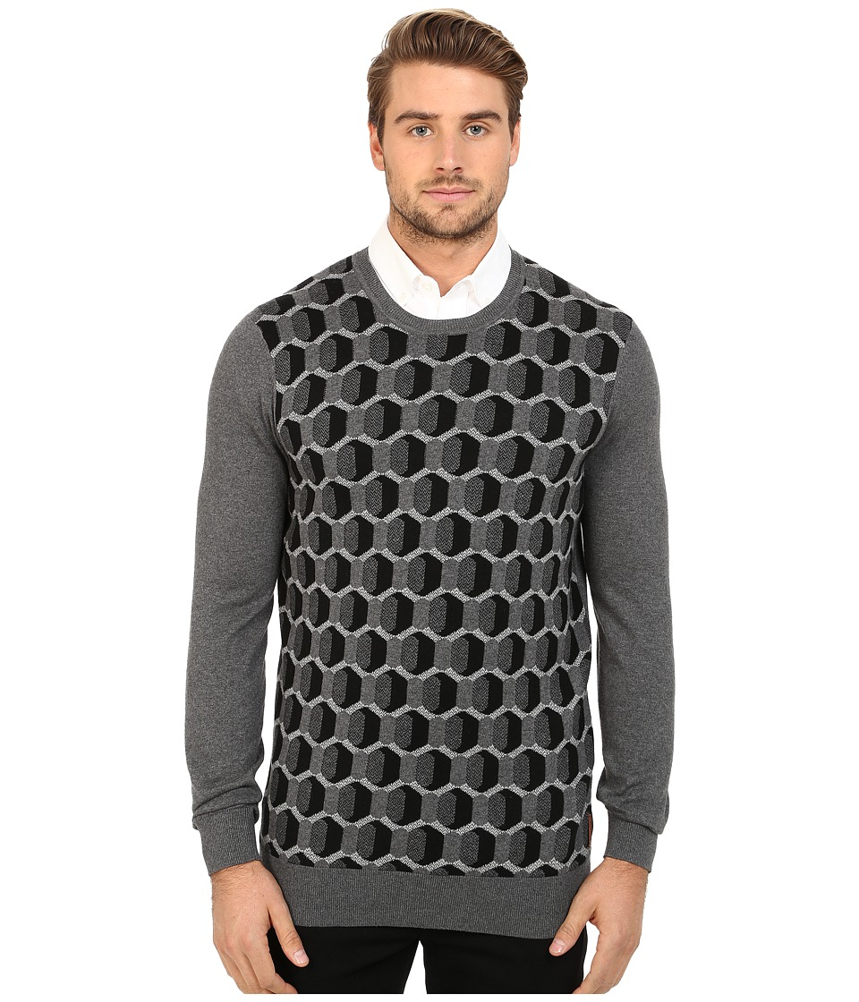 Ben Sherman - Long Sleeve Optical Geo Crew Neck Sweater ME11748 (Dark Heritage Grey Marl) Men