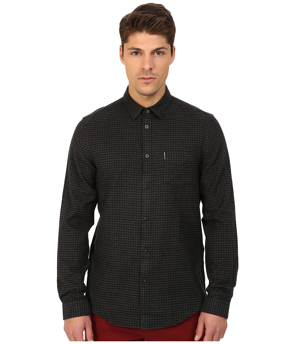 Ben Sherman - Long Sleeve Brushed Gingham Twill Woven Shirt MA11942A (Graphite Grey) Men's Long Sleeve Button Up