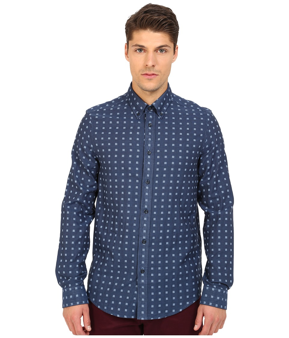Ben Sherman - Long Sleeve Double Cloth Gingham Woven Shirt MA11919 (Indigo) Men's Long Sleeve Button Up