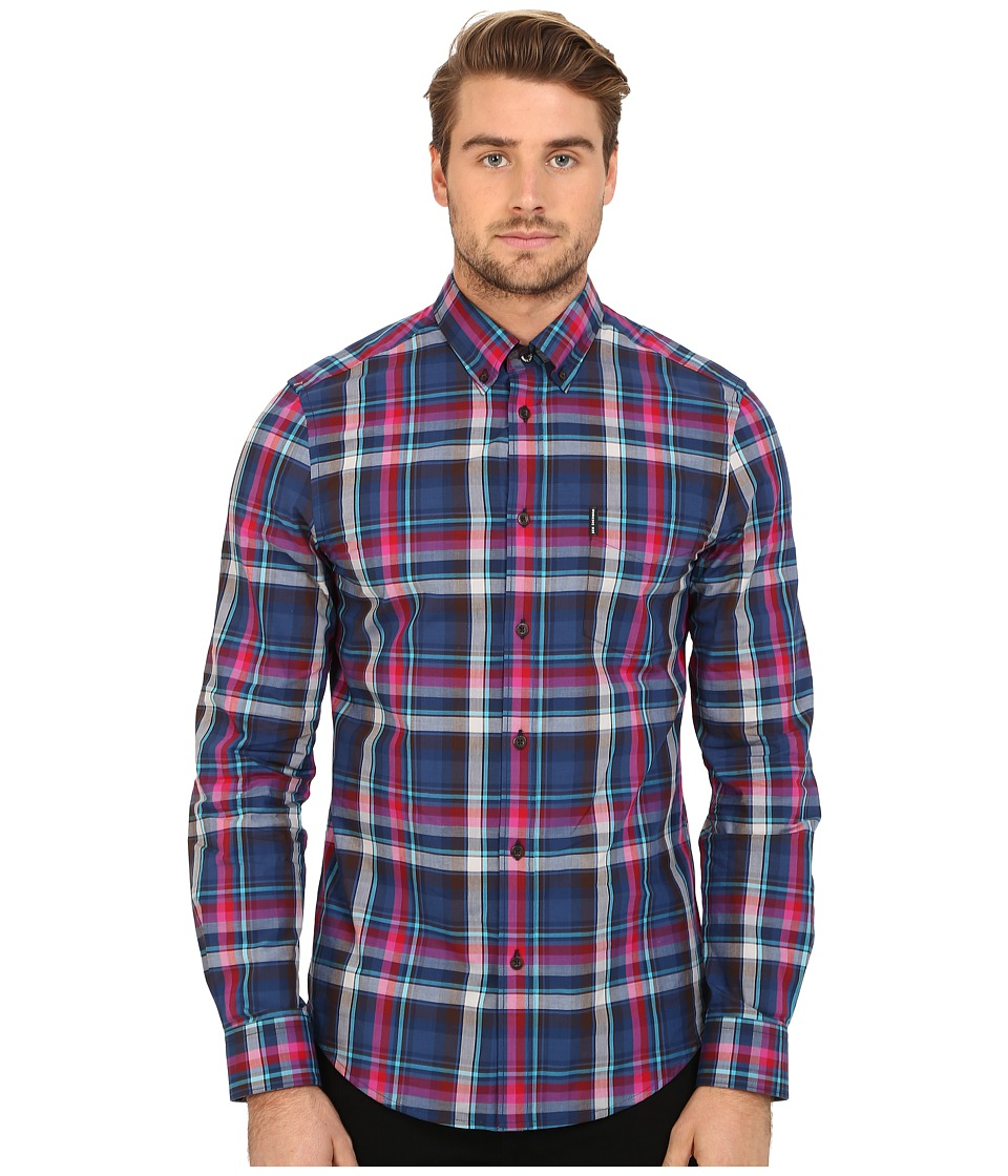 Ben Sherman - Long Sleeve Madras Check Woven Shirt MA11917A (After Dark) Men's Long Sleeve Button Up