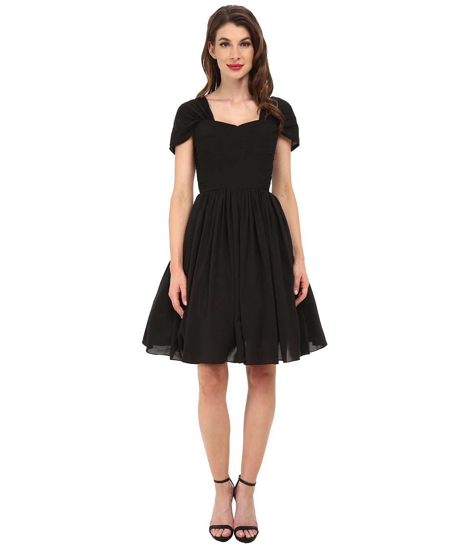 Unique Vintage - Chiffon Short Garden State Dress (Black) Women's Dress
