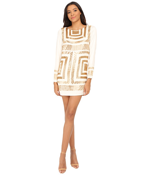 Mara Hoffman - Long Sleeve Embellished Mini Dress (Cream) Women's Dress