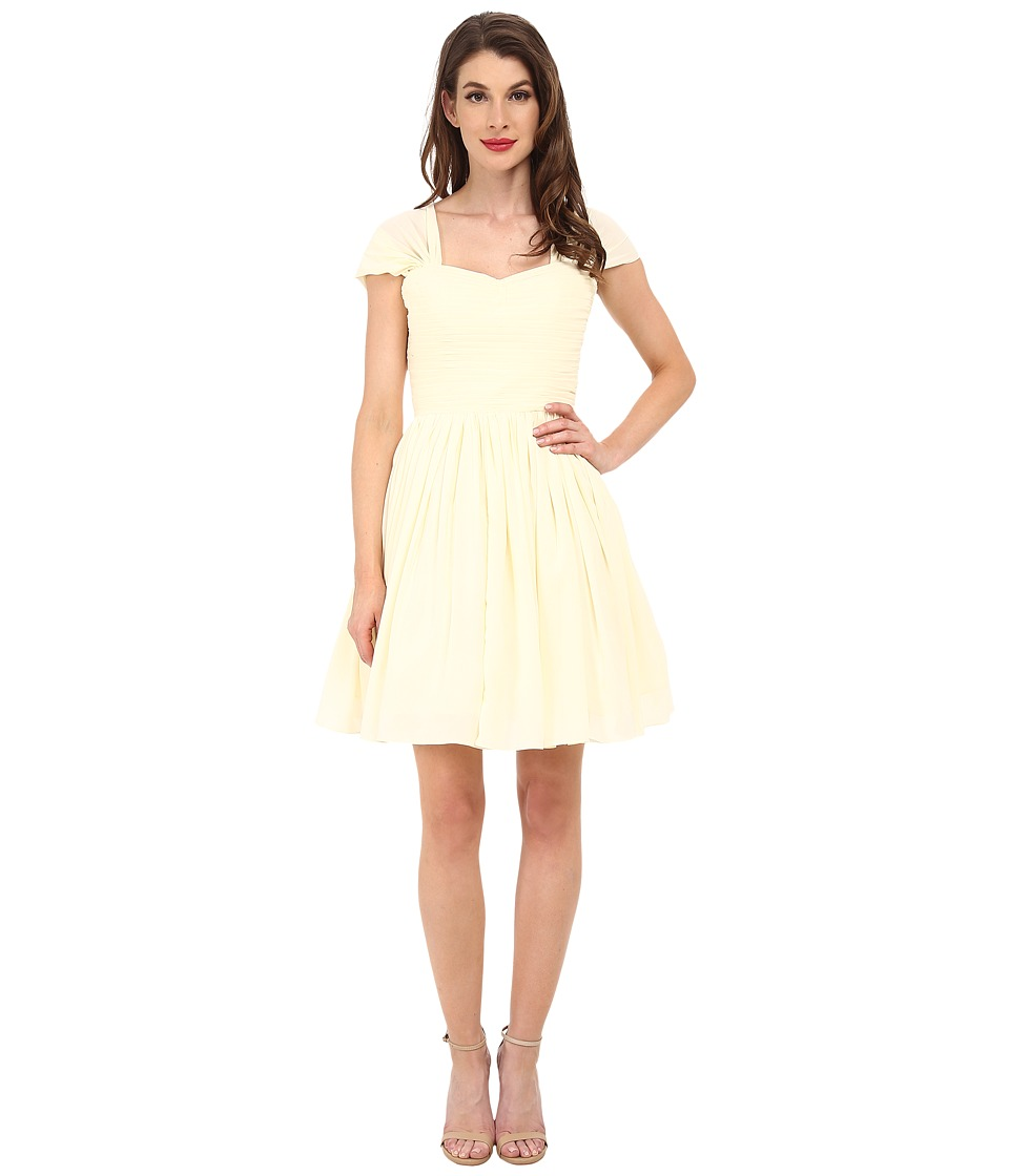 Unique Vintage - Chiffon Short Garden State Dress (Cream) Women's Dress