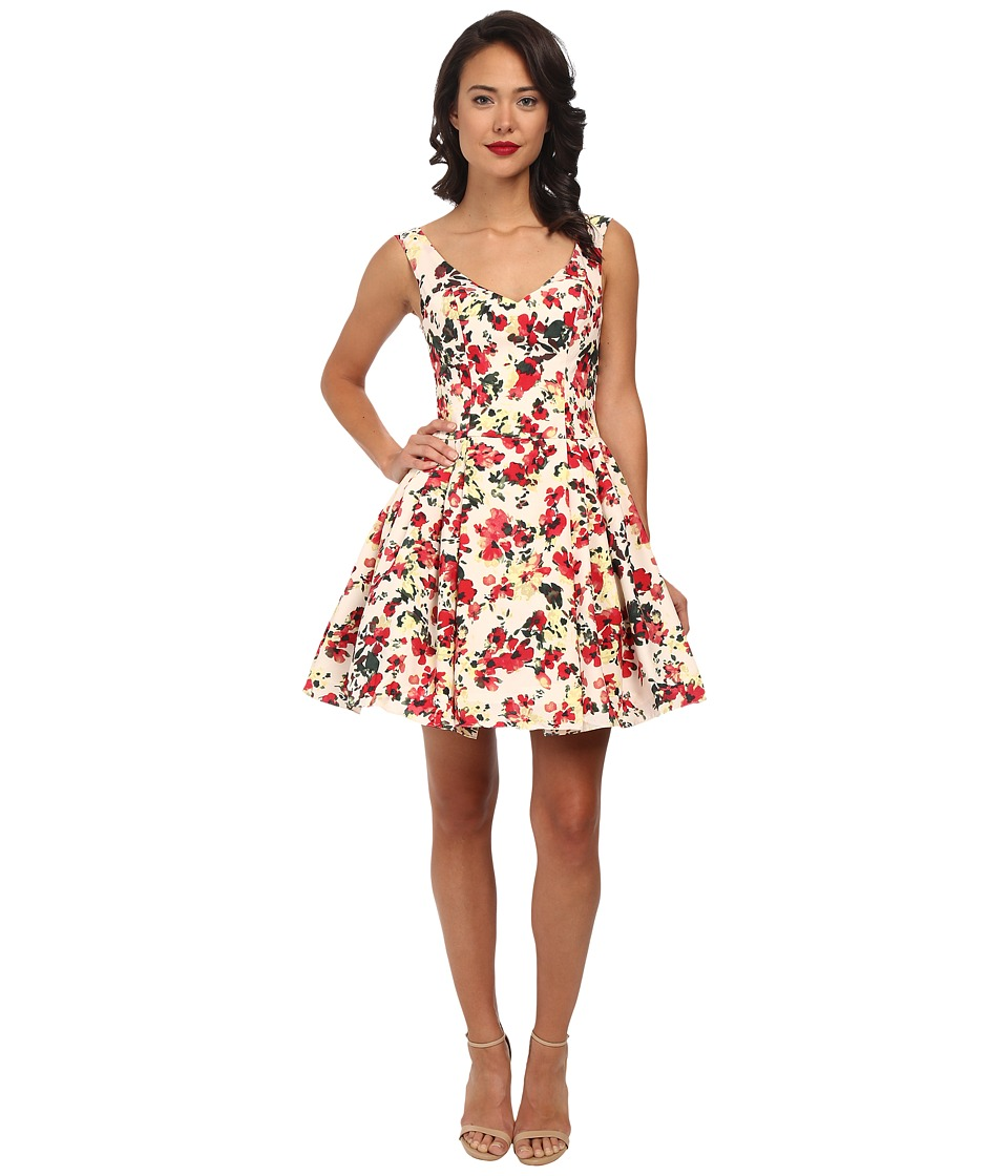 Unique Vintage - Fit N Flare Claudette Dress (Floral Print) Women's Dress